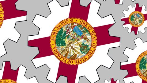 Florida flag gears rotating background zooming out