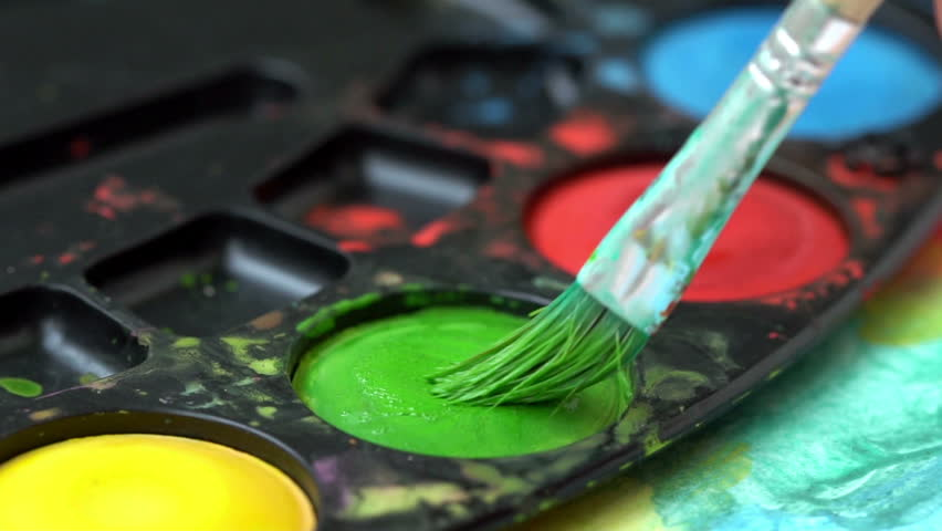 Brush taking green watercolor  | Shutterstock HD Video #1013598419
