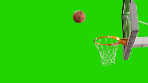 Ball Flying Spinning into Basket Net in Slow Motion on Green Screen. Beautiful Professional Throw in a Basketball Hoop. Sport Concept. 3d Animation 4k UHD 3840x2160.