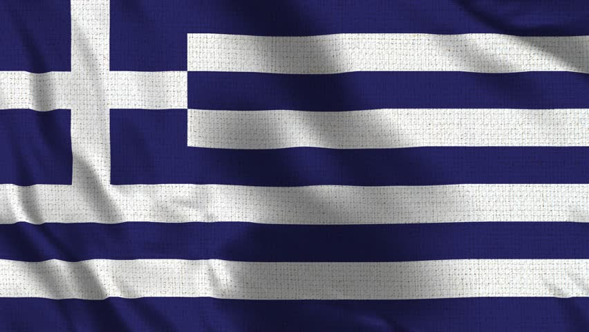 Greece Flag Loop - Realistic 4K - 60 fps flag of the Greece waving in the wind. Seamless loop with highly detailed fabric texture. Loop ready in 4k resolution