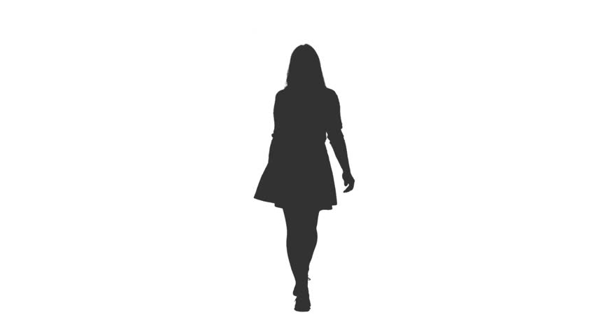 Silhouette of young attractive female walking in mini skirt, Front view, Full HD footage with alpha transparency channel isolated on white background