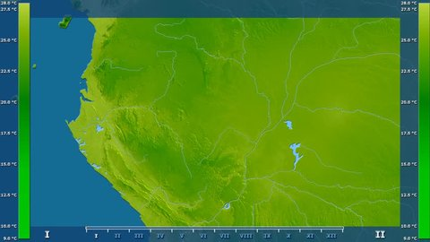 Average temperature by month in the Congo Brazzaville area with animated legend - raw color shader. Stereographic projection