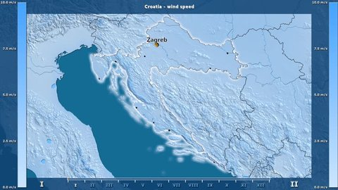 Wind speed by month in the Croatia area with animated legend - English labels: country and capital names, map description. Stereographic projection