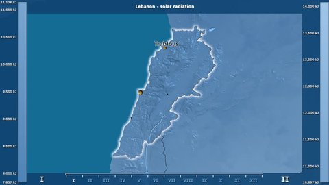 Solar radiation by month in the Lebanon area with animated legend - English labels: country and capital names, map description. Stereographic projection