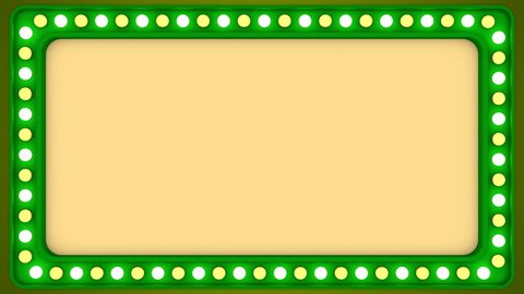 Flashing light bulbs green frame border screen sign casino background loop