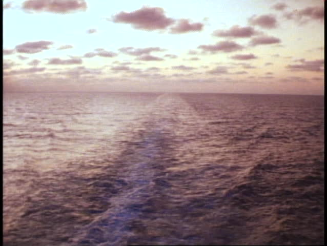 SEA WAKE, INDIAN OCEAN 1982, off ship stern, sea at dawn, trailing wake