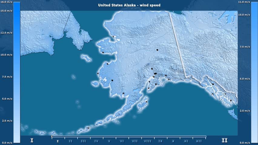Wind speed by month in the United States Alaska area with animated legend - English labels: country and capital names, map description. Stereographic projection