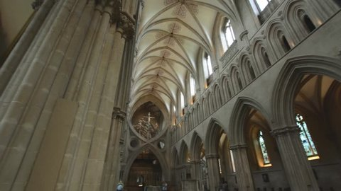 Wells, England - June 2, 2018: Interior of Wells Cathedral - Scan of Triforium Gallery, Top element of Nave