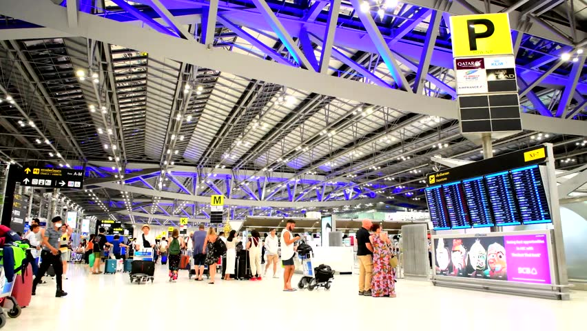BANGKOK JULY 14,2018:Passenger terminal of Bangkok Suvarnabhumi Airport, the world busiest airports which are 60 million passengers use this airport in 2018