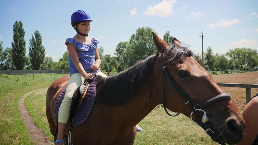 Hippotherapy rehabilitation deals with child riding on horseback. Communication with horses | Shutterstock HD Video #1013677019