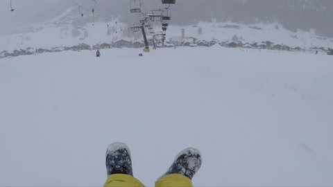 Pov Snowboarding in Livigno ,Italy Alps ,Jumps,Rails,powder