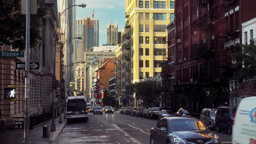 Video of cars passing through the streets of Manhattan. Dayly life in New York, USA.