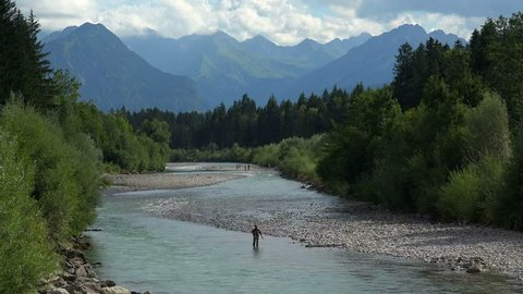 Iller River near Fischen and view to the Allgaeu Alps, Allg?u, Swabia, Bavaria, Germany