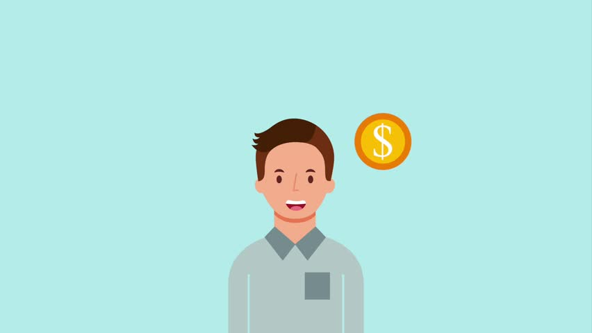 Portrait young man and dollar money coins   Shutterstock HD Video #1013792039