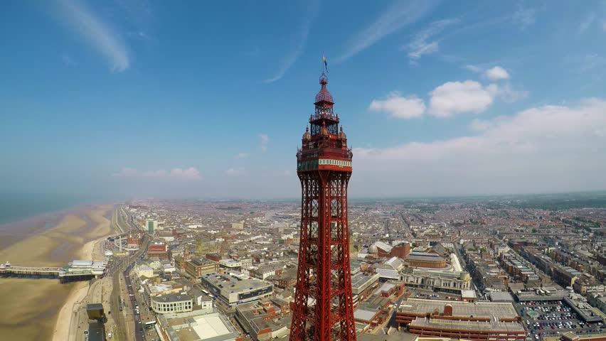 An aerial view of Blackpool Tower and award winning Blackpool beach, England uk