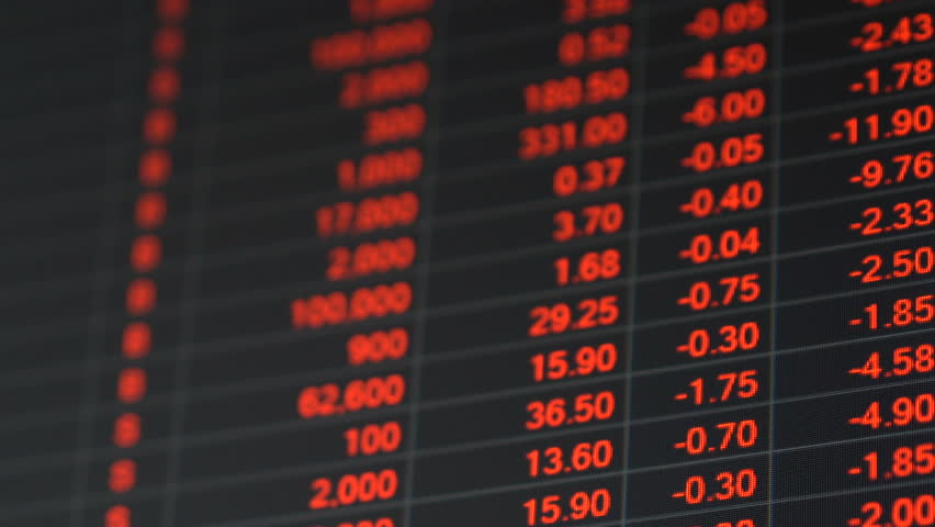 Economic crisis - Red stock market price board chart showing economic crisis of world stock. Bad economy and negative price down stock market situation. Traders are panic and selling their stock.   Shutterstock HD Video #1013835929