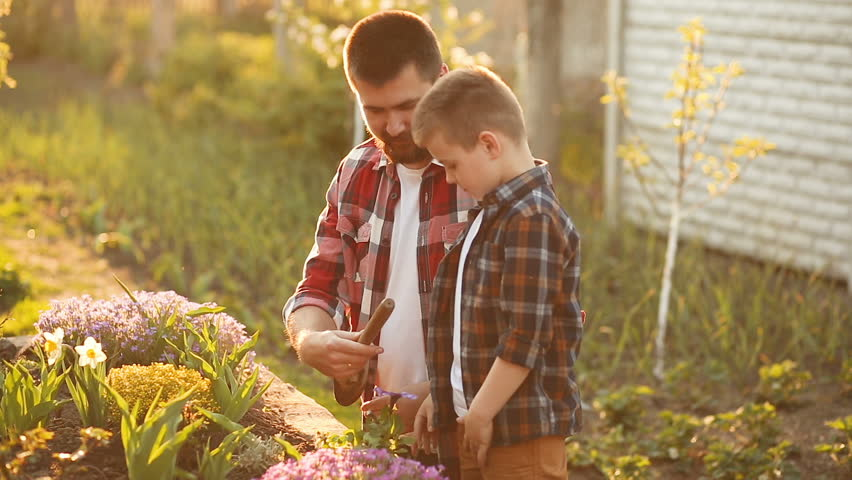 Dad and son spending free time together in garden