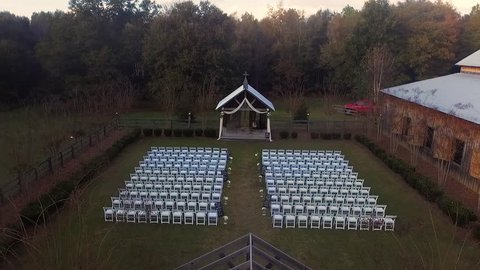 Drone shot of the Outdoor Ceremony Venue of a wedding.