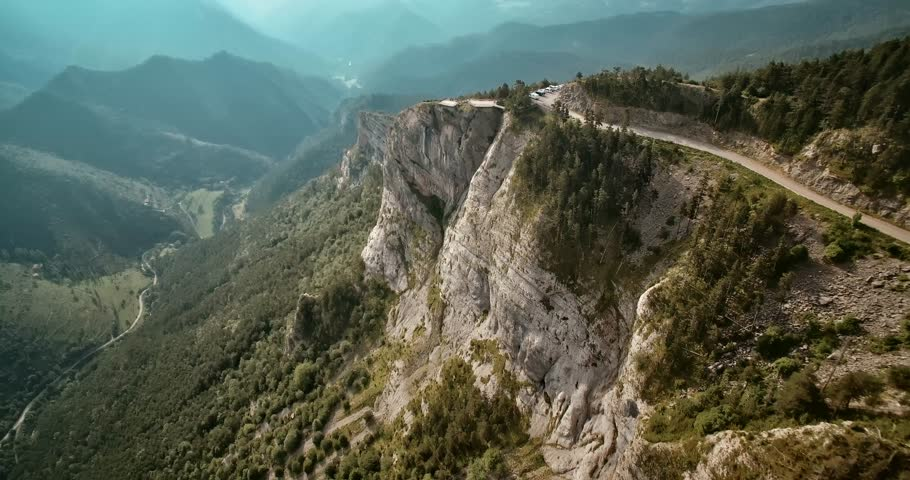 Aerial, Flight Along The Mountains Around Mirador Gresolet In Cadi-Moixero National Park, Pyrenees, Spain - graded and stabilized version. Watch also for the native material, straight out of the camer | Shutterstock HD Video #1013873489