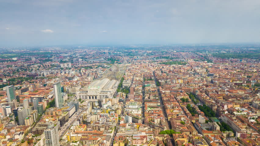 Sunny day milan city modern downtown aerial panorama 4k timelapse italy  | Shutterstock HD Video #1013882159