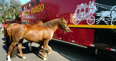 Los Angeles California Usa June 10 2018 Wells Fargo Horses