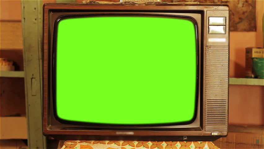 80s Television with Green Screen. Zoom In Slow.  | Shutterstock HD Video #1013886869