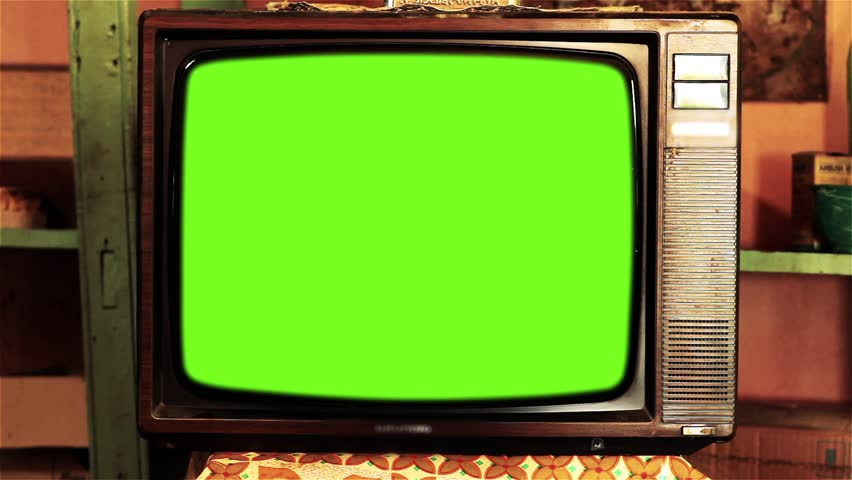 80s Television with Green Screen. High Contrast Tone. | Shutterstock HD Video #1013886899