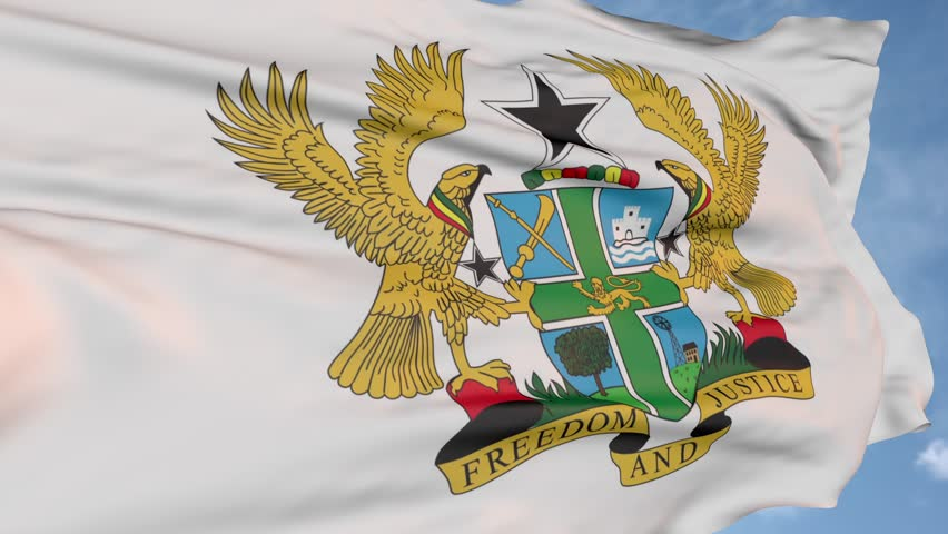 Eagle and shield flag of the Republic of Ghana. state symbol logo