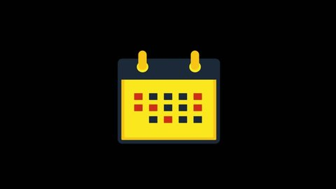 Delivery icons animation with black background.Calendar icon animation with black background.