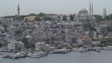 View of Golden Horn, Suleymaniye Mosque and buildings from Galata Tower