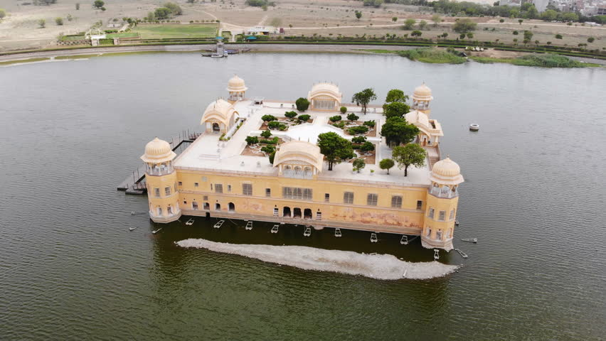 Aerial panoramic view of Jal Mahal (Water Palace) on Man Sagar Lake in famous historical city of Jaipur (Pink City) - capital city of Rajasthan, landscape panorama of Northern India, Asia from above