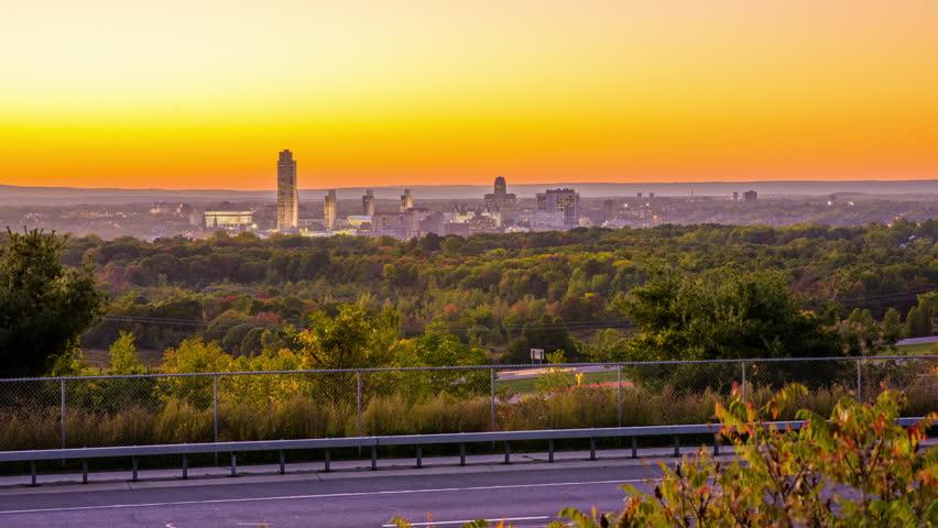 Albany, New York, USA city skyline at dusk.