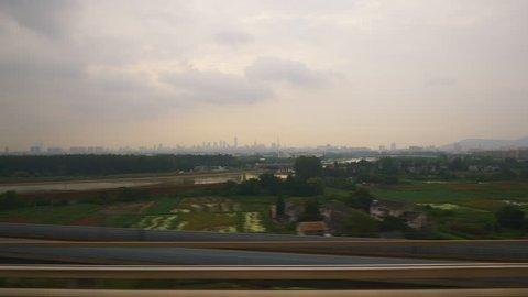 shanghai wuhan sunset train wagon ride window pov panorama 4k china