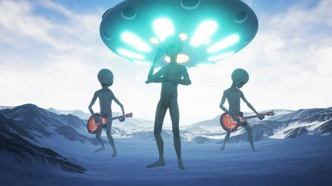 Aliens sing and play guitars on their home snow planet on the background of the ufo. Realistic motion background. 4K.