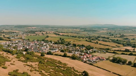 Cinematic Aerial Drone Of Rural North Wales, Calming Green Landscape, 4K UK.