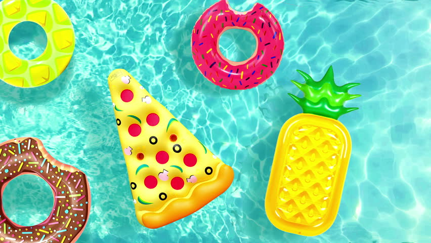 Cool Inflatable pool toy pizza, donut Floating in water pool or sea animation. Water toy in Swimming pool Top view of water surface texture,  sun shine bright water-pool looping slow motion background | Shutterstock HD Video #1013991719