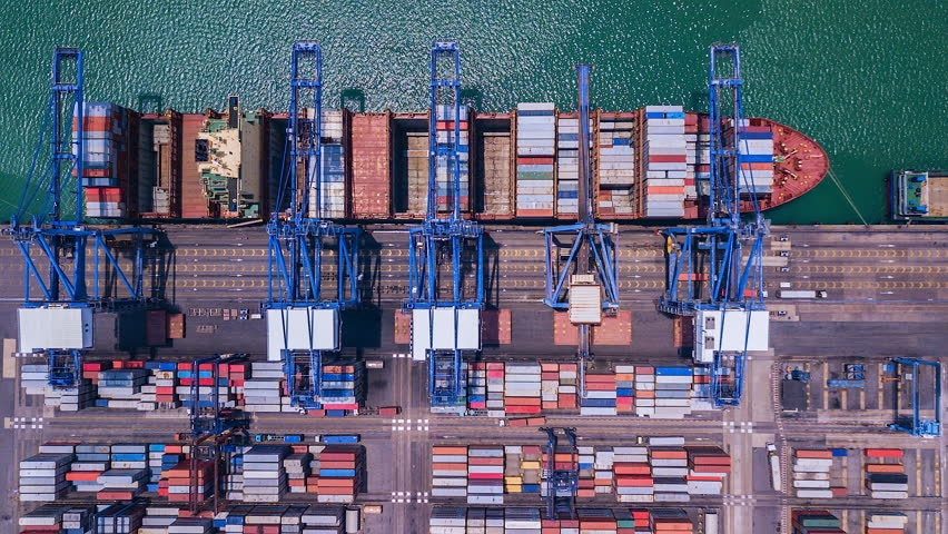 4K Timelapse of modern industrial port with containers from top view or aerial view. It is an import and export cargo port where is a part of shipping dock. Singapore  | Shutterstock HD Video #1014005999