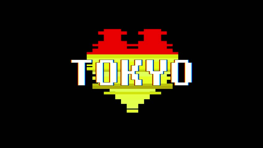 Pixel heart TOKYO word text glitch interference screen seamless loop animation background new dynamic retro vintage joyful colorful video footage | Shutterstock HD Video #1014046469