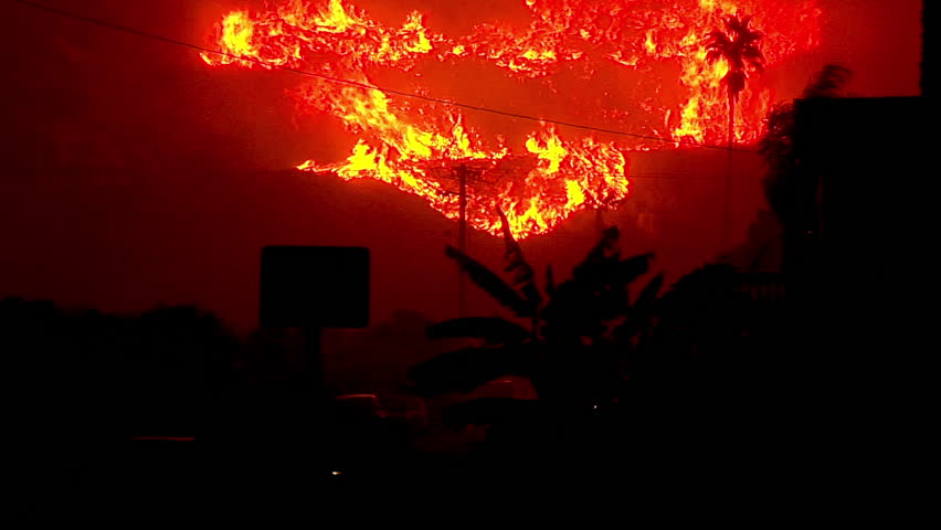 2017 - Santa Ana winds fuel the inferno of flames at night in the hills above Ventura and Santa Barbara during the Thomas Fire. | Shutterstock HD Video #1014058409