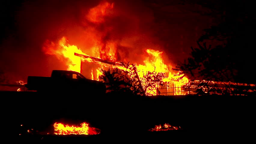 2017 - a house burns to the ground at night during the Thomas Fire in Ventura and Santa Barbara County.