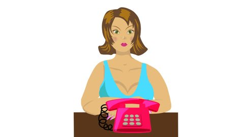 woman, secretary. The girl-secretary, answers the phone call in the office, says hello, video, animation, video clip, animated clipart, transparent background
