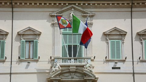 Italian Presidential Flag, Flag of the Italian Republic and Flag of European Union waving in the wind at Quirinal palace in Rome, Italy
