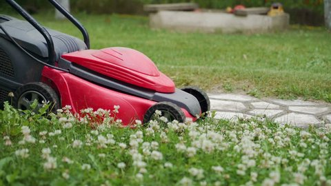 Close-up of mowing the lawn. Female Mowing Lawn in Suburbs.