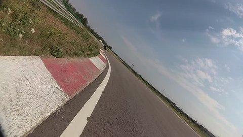 Moto race on track