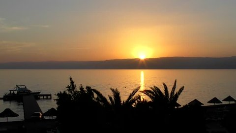 Sunset over the Gulf of Aqaba (part of the Red Sea) at Aqaba, Jordan