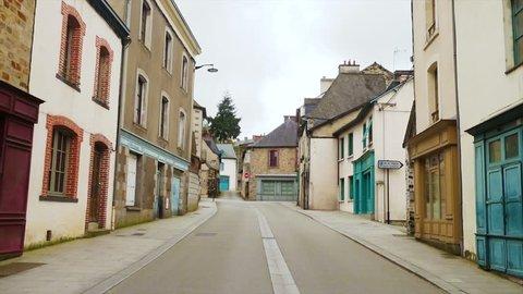 empty street of small breton town Vitre, Brittany