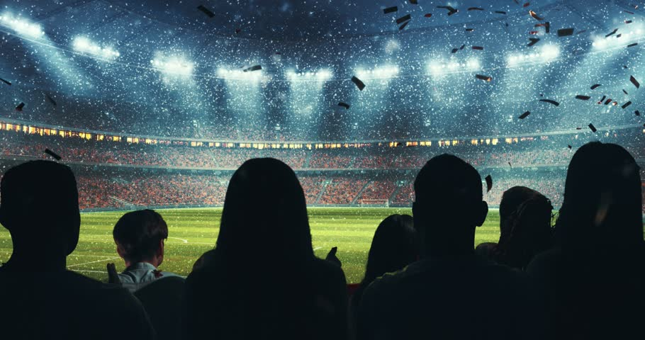 Fans celebrating the success of their favorite sports team on the stands of the professional stadium while it's snowing. Stadium is made in 3D and animated. #1014312479