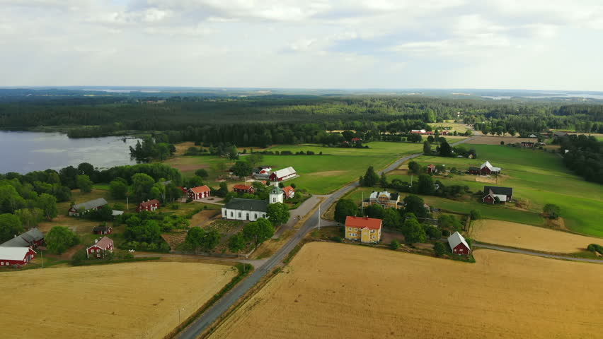 Aerial view of village in Smaland in Sweden | Shutterstock HD Video #1014358259