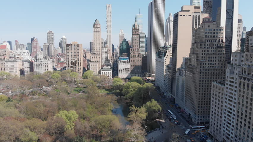 New York cityscape with central park, aerial landscape - United States