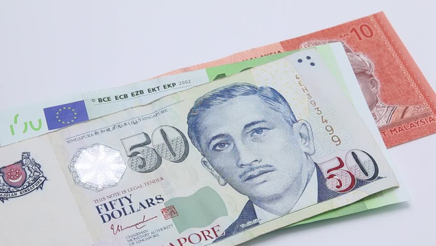 Put Banknote Malaysia Ringgit Euro Singapore Dollar An Yen Thai Baht And China Yuan Consecutively On White Background